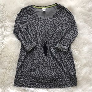 Motherhood Leopard Gray Black Drawstring Tunic Top
